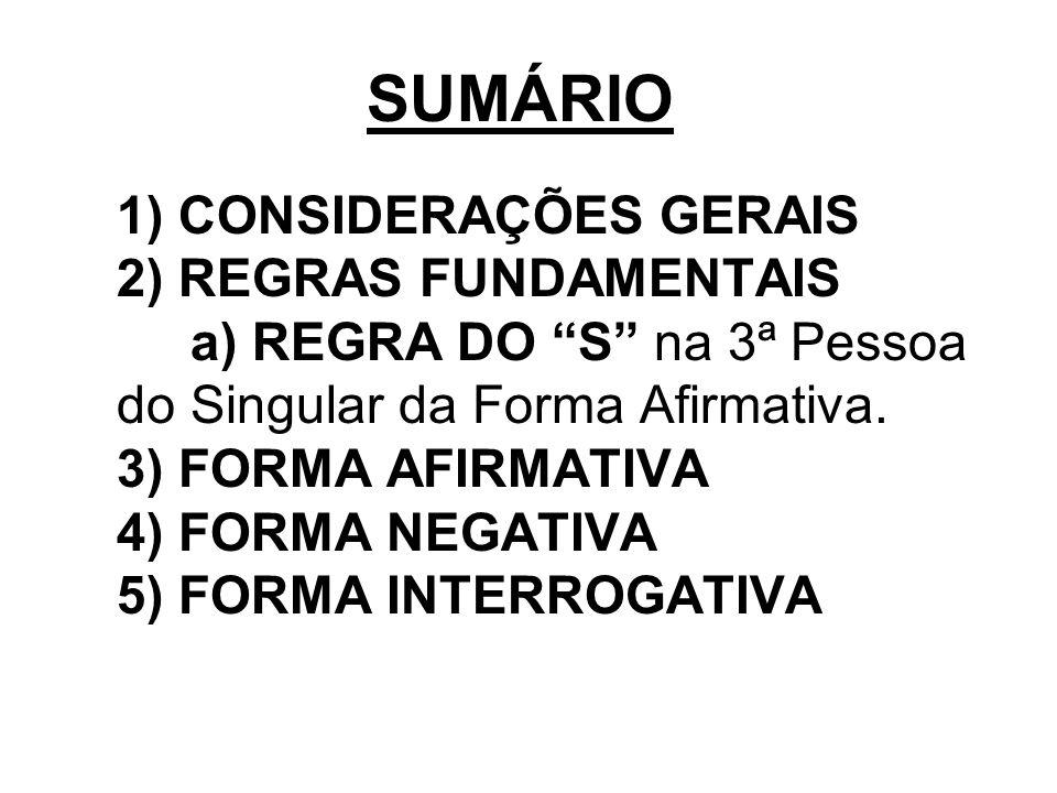 SUMÁRIO 1) CONSIDERAÇÕES GERAIS 2) REGRAS FUNDAMENTAIS