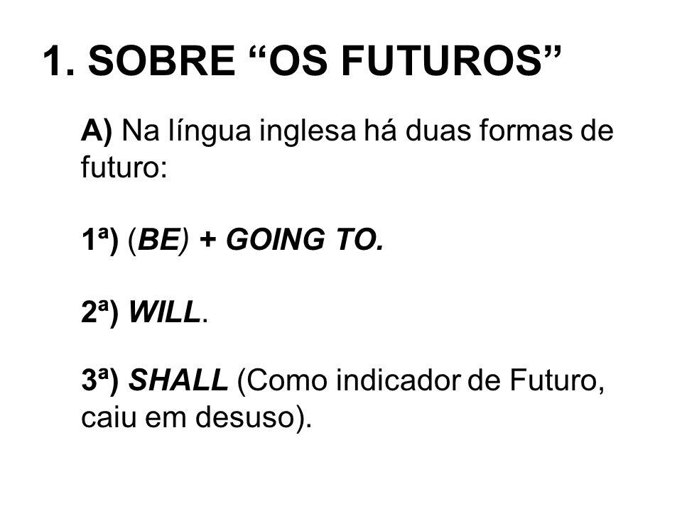 1. SOBRE OS FUTUROS A) Na língua inglesa há duas formas de futuro: