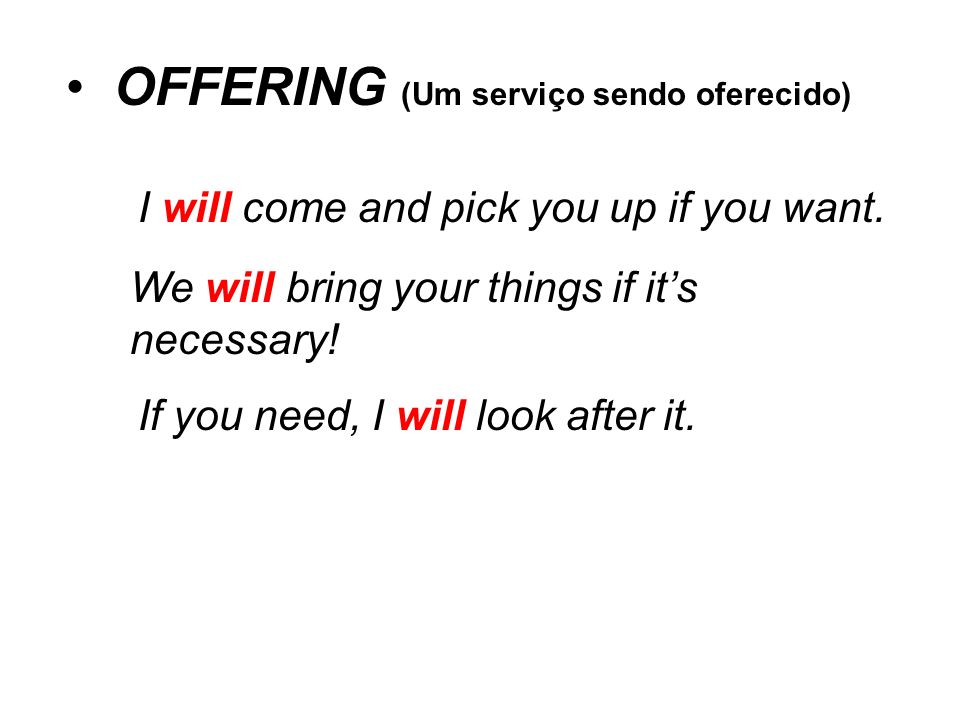 OFFERING (Um serviço sendo oferecido)