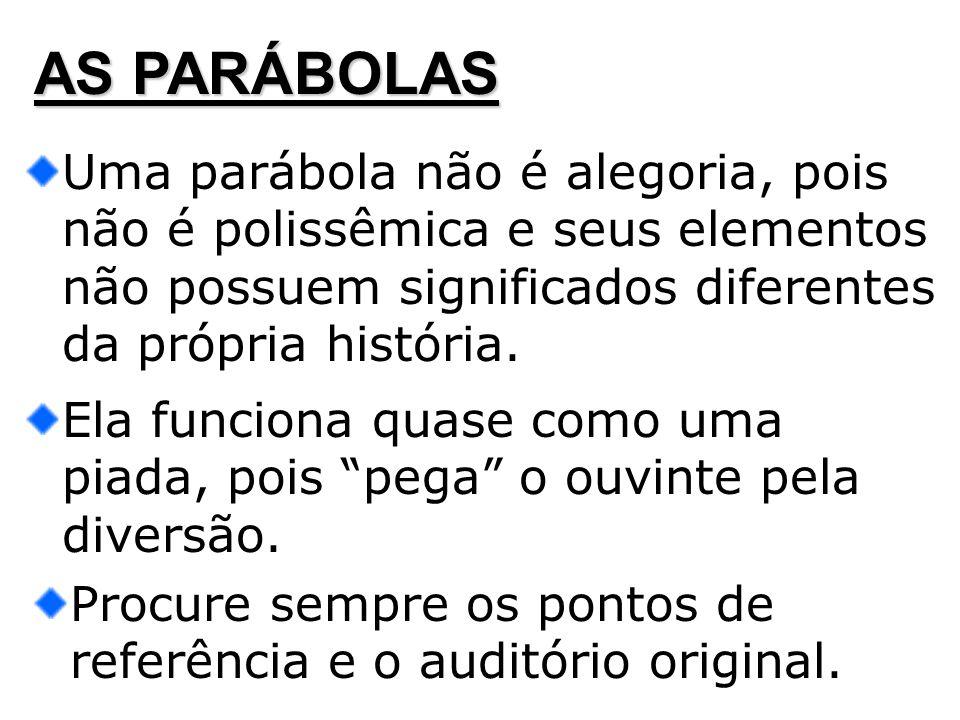 AS PARÁBOLAS Uma parábola não é alegoria, pois não é polissêmica e seus elementos não possuem significados diferentes da própria história.