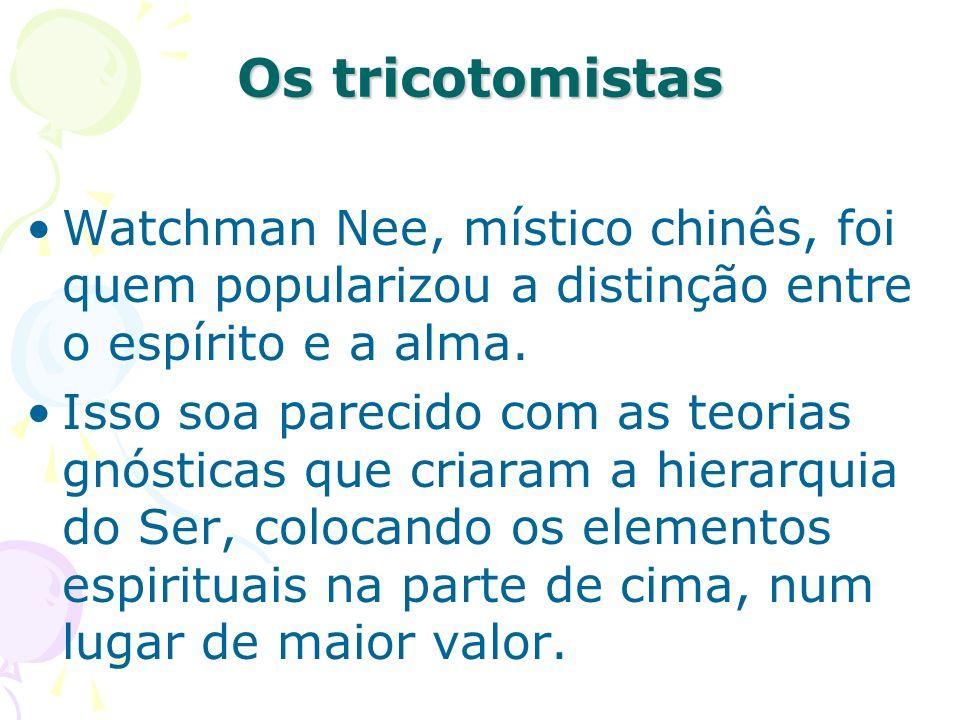 Os tricotomistas Watchman Nee, místico chinês, foi quem popularizou a distinção entre o espírito e a alma.