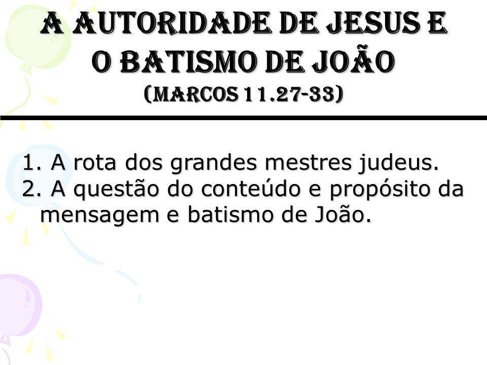 A autoridade de jesus e o batismo de joão