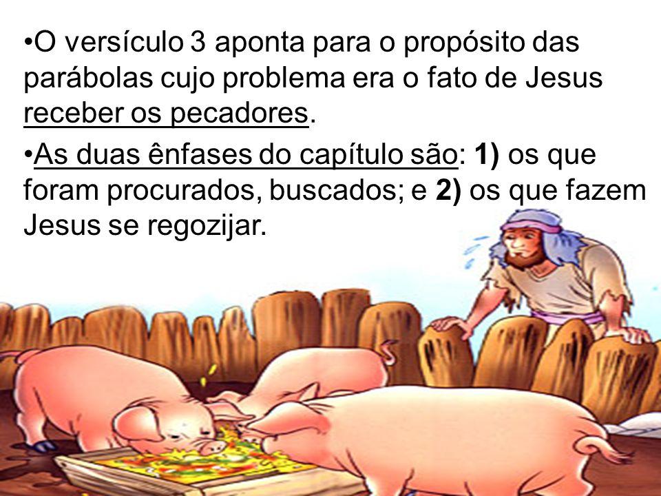 O versículo 3 aponta para o propósito das parábolas cujo problema era o fato de Jesus receber os pecadores.
