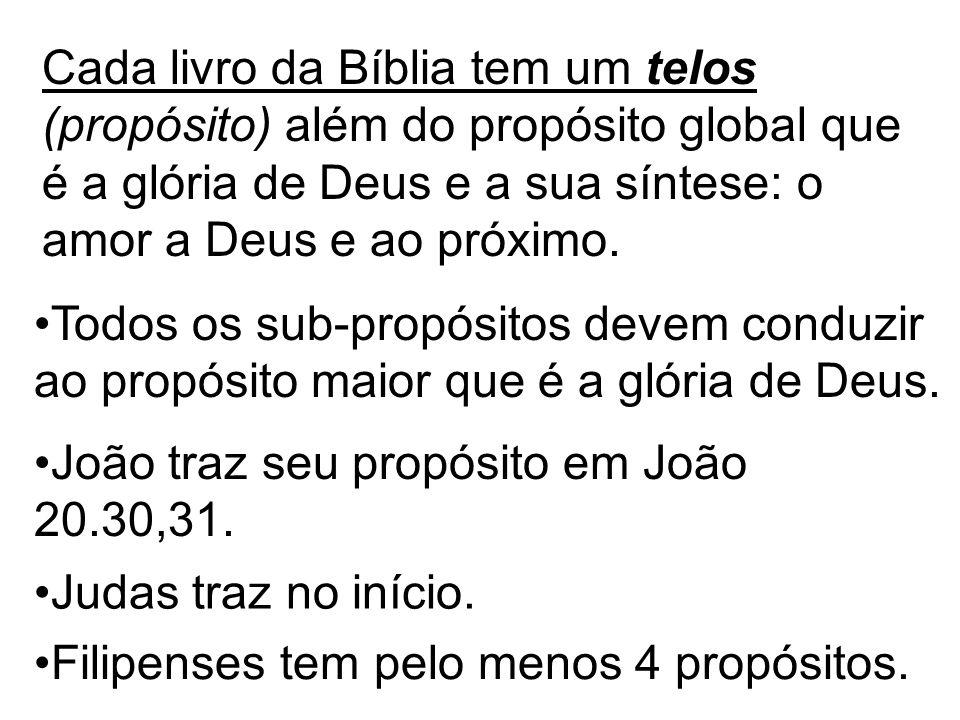 Cada livro da Bíblia tem um telos (propósito) além do propósito global que é a glória de Deus e a sua síntese: o amor a Deus e ao próximo.