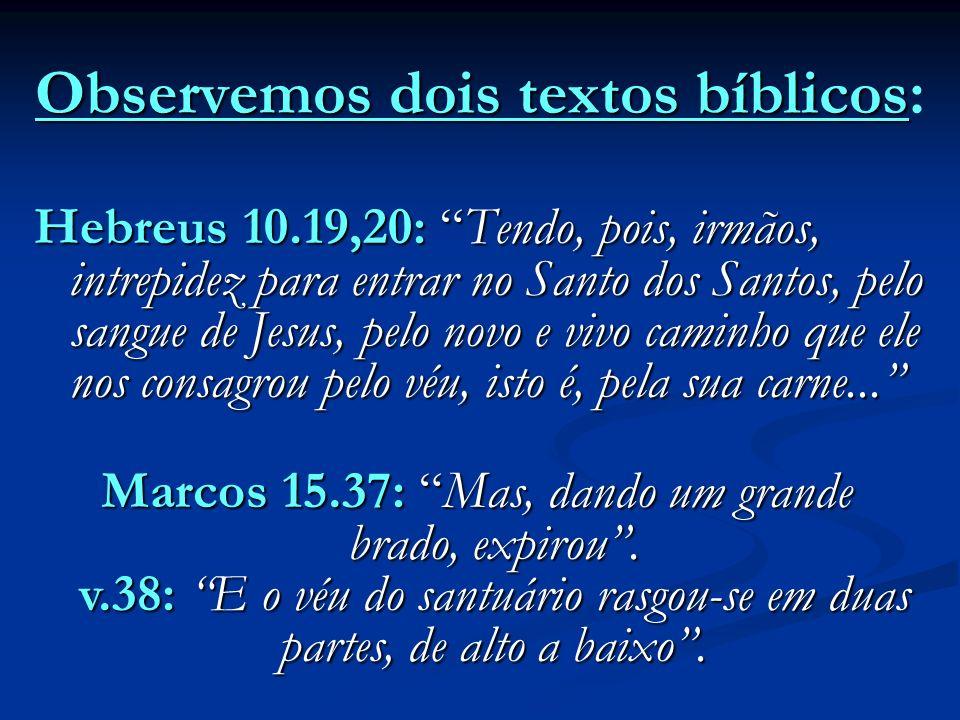 Observemos dois textos bíblicos: