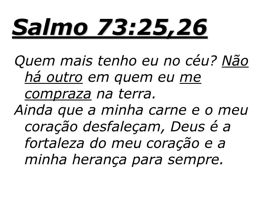 Salmo 73:25,26 Quem mais tenho eu no céu Não há outro em quem eu me compraza na terra.