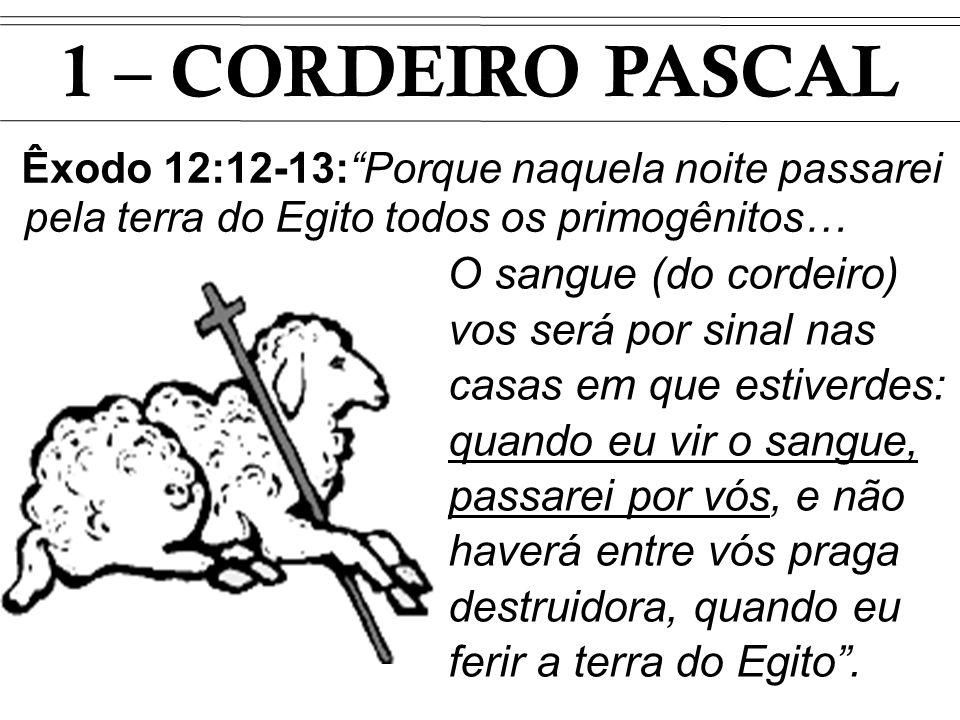 1 – CORDEIRO PASCAL Êxodo 12:12-13: Porque naquela noite passarei pela terra do Egito todos os primogênitos…