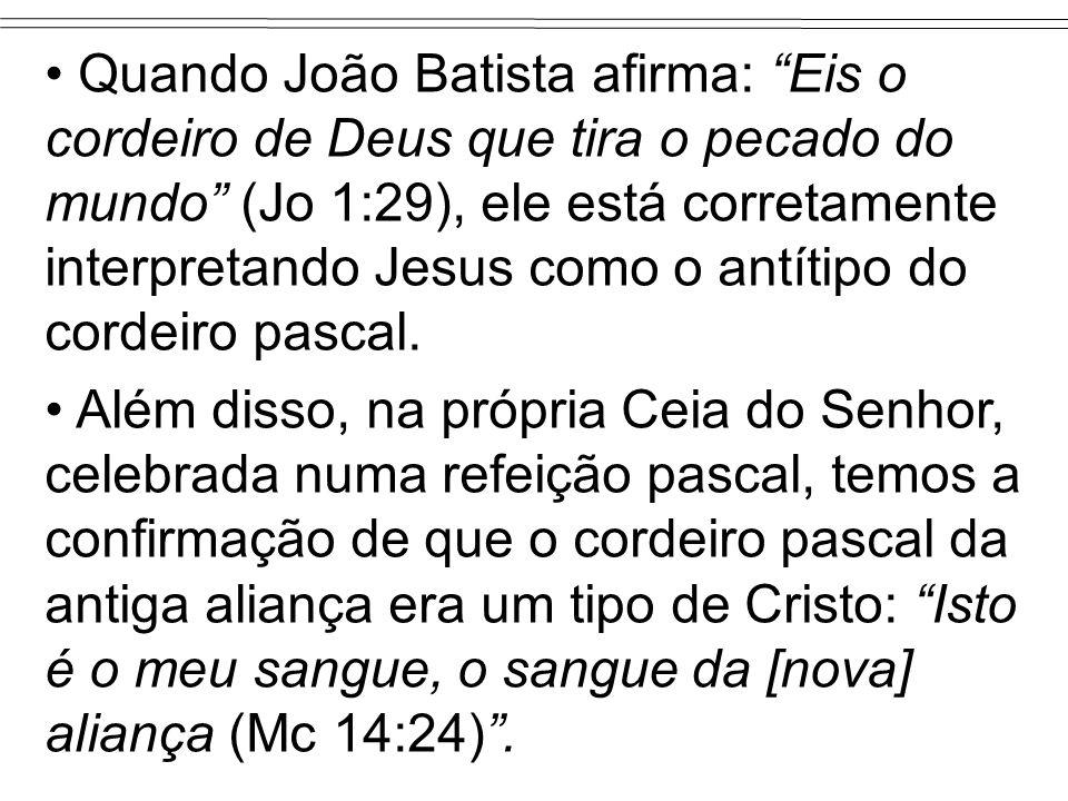 Quando João Batista afirma: Eis o cordeiro de Deus que tira o pecado do mundo (Jo 1:29), ele está corretamente interpretando Jesus como o antítipo do cordeiro pascal.