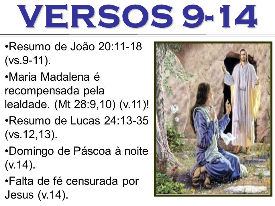 VERSOS 9-14 Resumo de João 20:11-18 (vs.9-11).