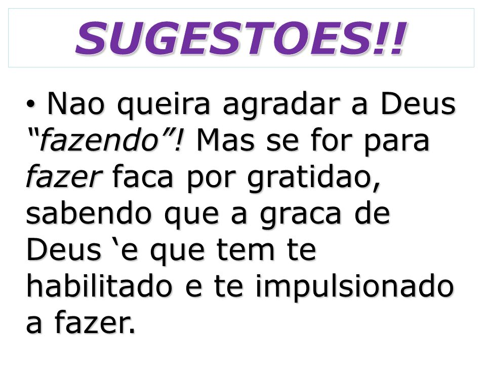 SUGESTOES!!