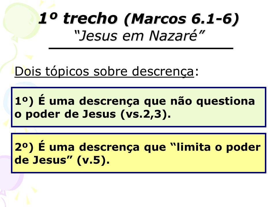 1º trecho (Marcos 6.1-6) Jesus em Nazaré