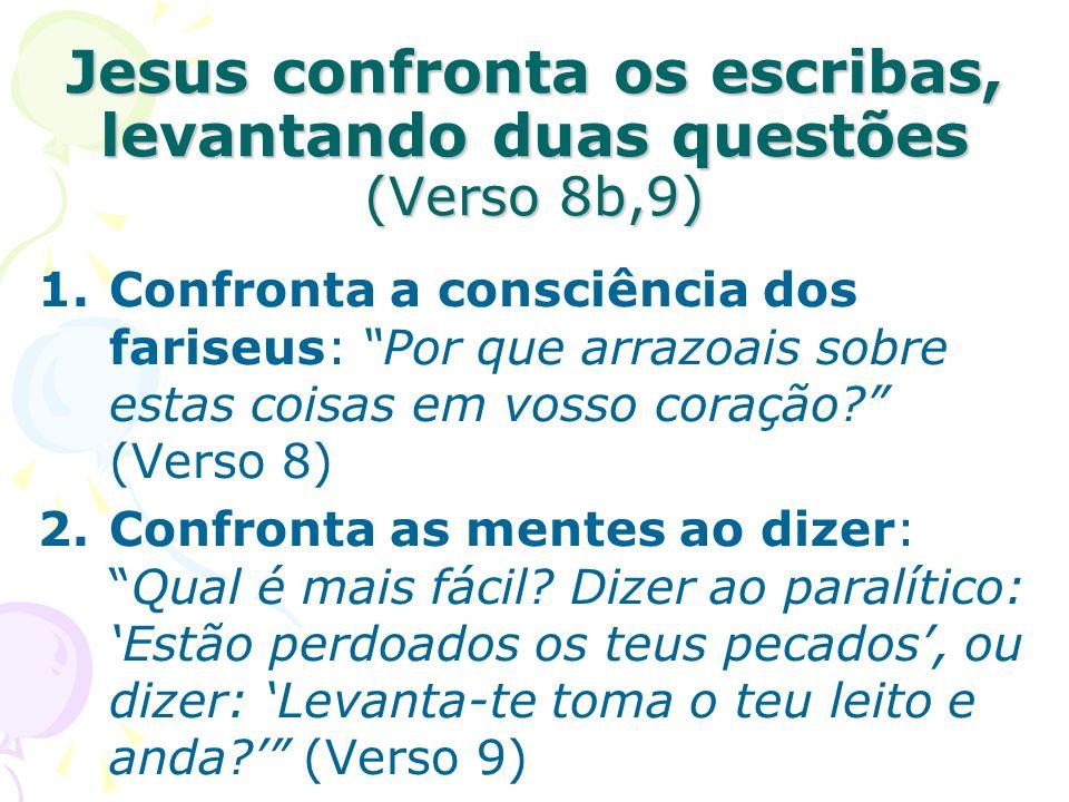 Jesus confronta os escribas, levantando duas questões (Verso 8b,9)