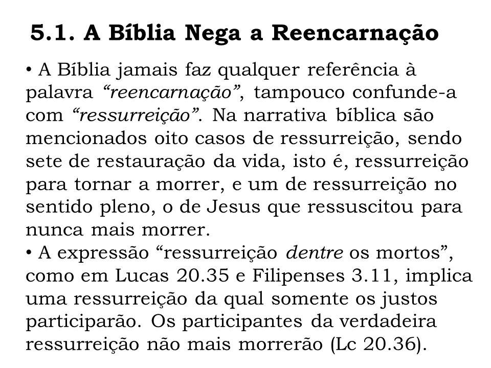 5.1. A Bíblia Nega a Reencarnação