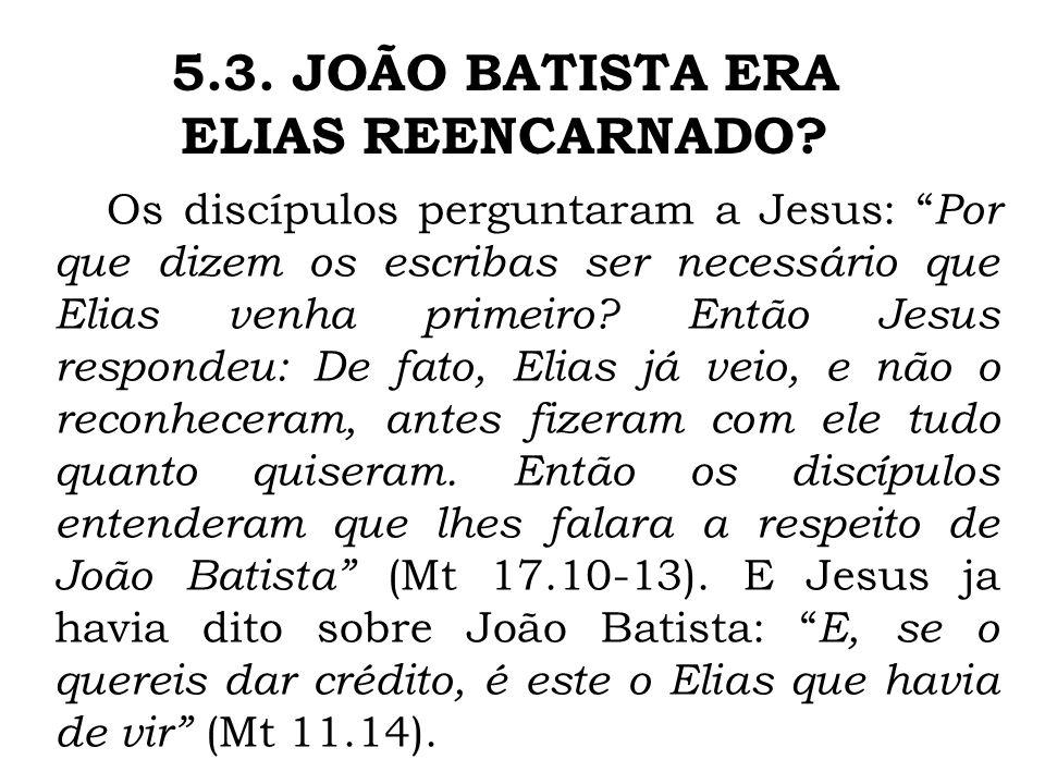 5.3. JOÃO BATISTA ERA ELIAS REENCARNADO