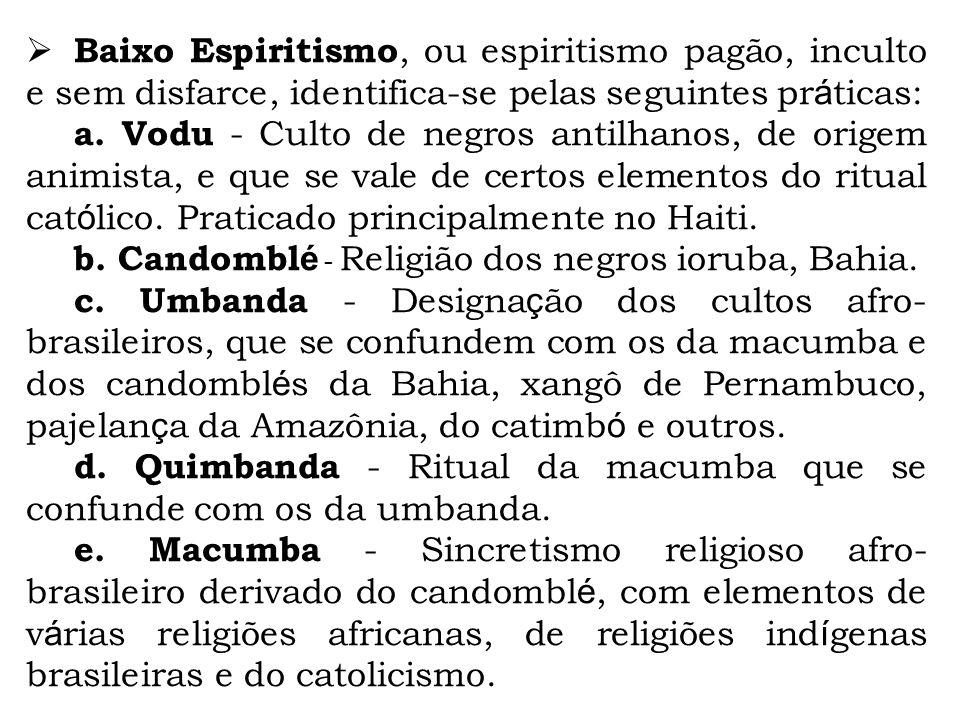 Baixo Espiritismo, ou espiritismo pagão, inculto e sem disfarce, identifica-se pelas seguintes práticas: