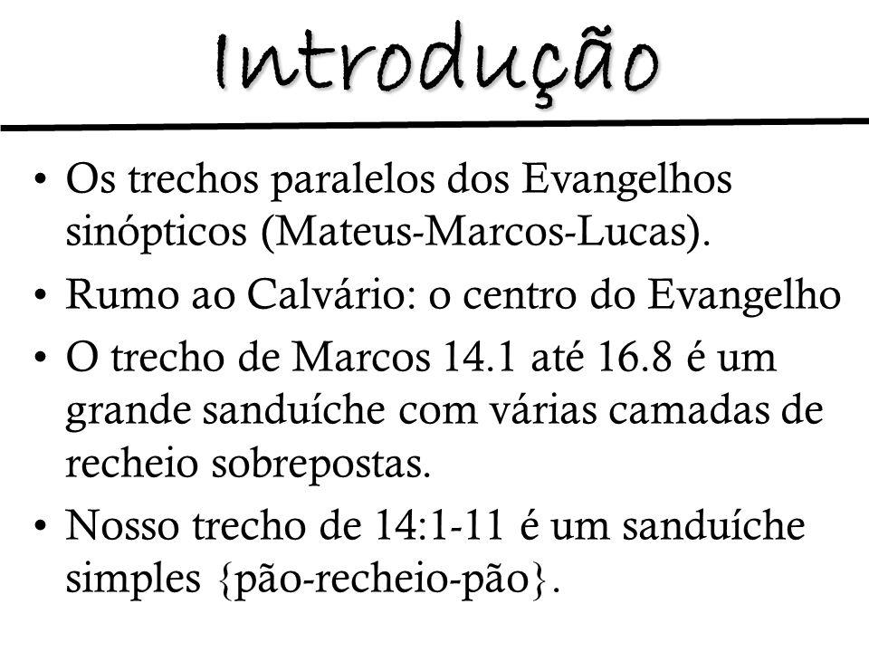 Introdução Os trechos paralelos dos Evangelhos sinópticos (Mateus-Marcos-Lucas). Rumo ao Calvário: o centro do Evangelho.