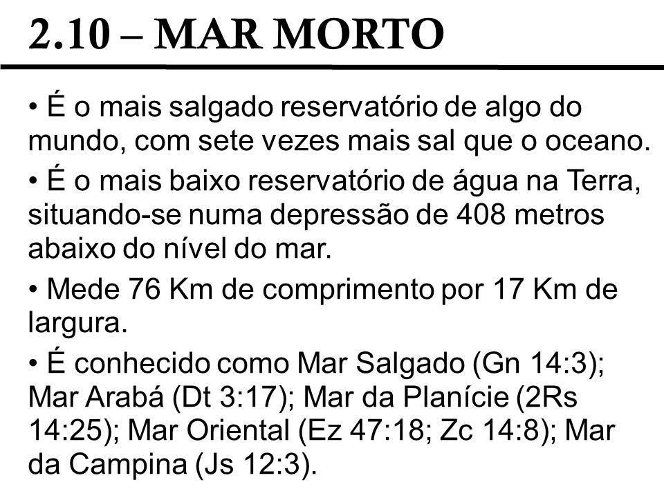 2.10 – MAR MORTO É o mais salgado reservatório de algo do mundo, com sete vezes mais sal que o oceano.