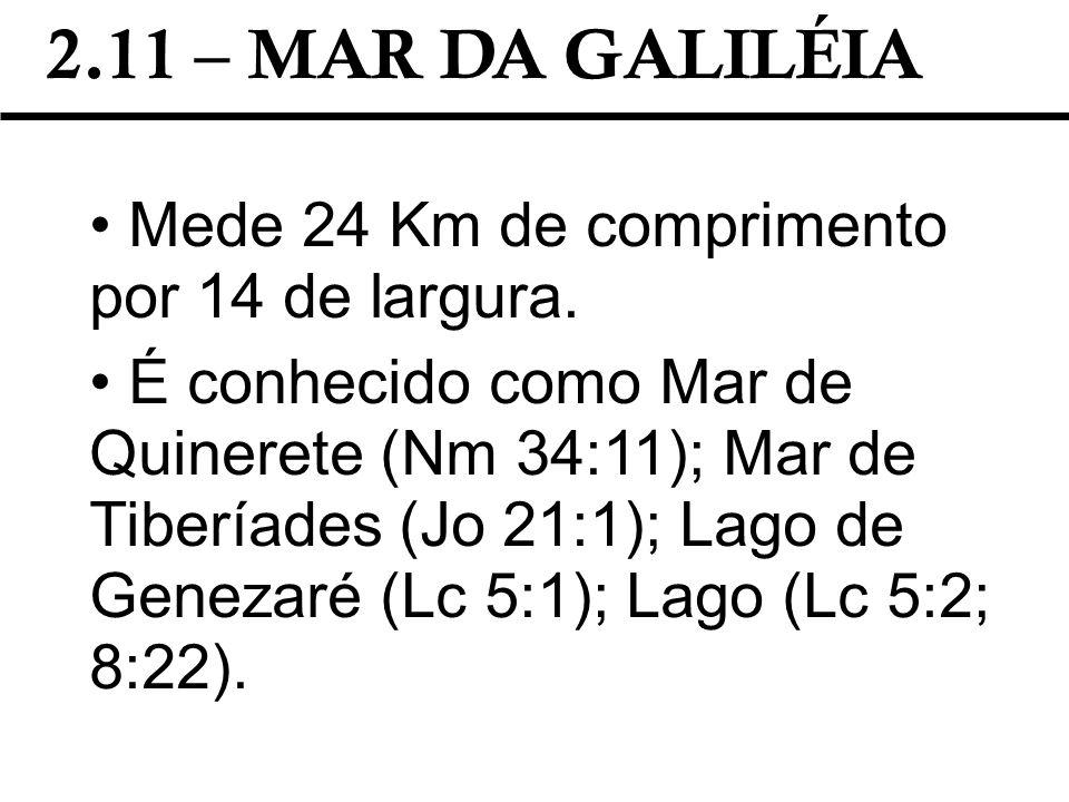 2.11 – MAR DA GALILÉIA Mede 24 Km de comprimento por 14 de largura.