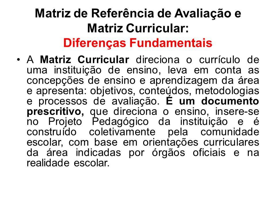 Matriz de Referência de Avaliação e Matriz Curricular: