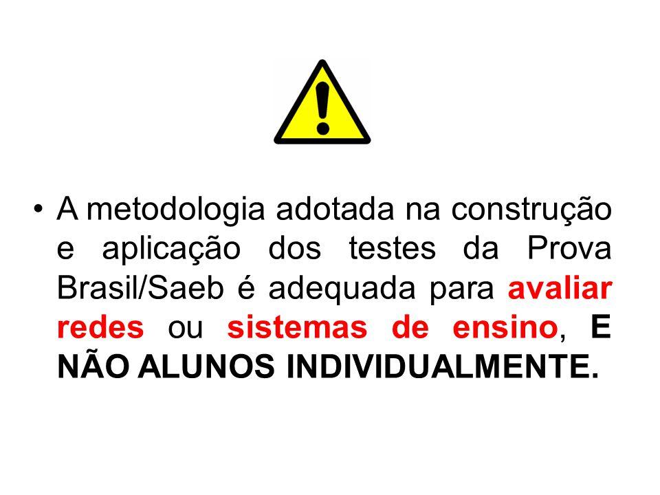 A metodologia adotada na construção e aplicação dos testes da Prova Brasil/Saeb é adequada para avaliar redes ou sistemas de ensino, E NÃO ALUNOS INDIVIDUALMENTE.