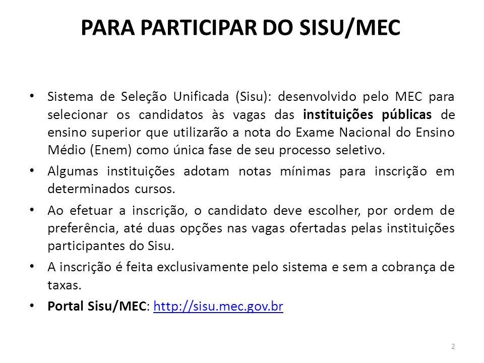 PARA PARTICIPAR DO SISU/MEC