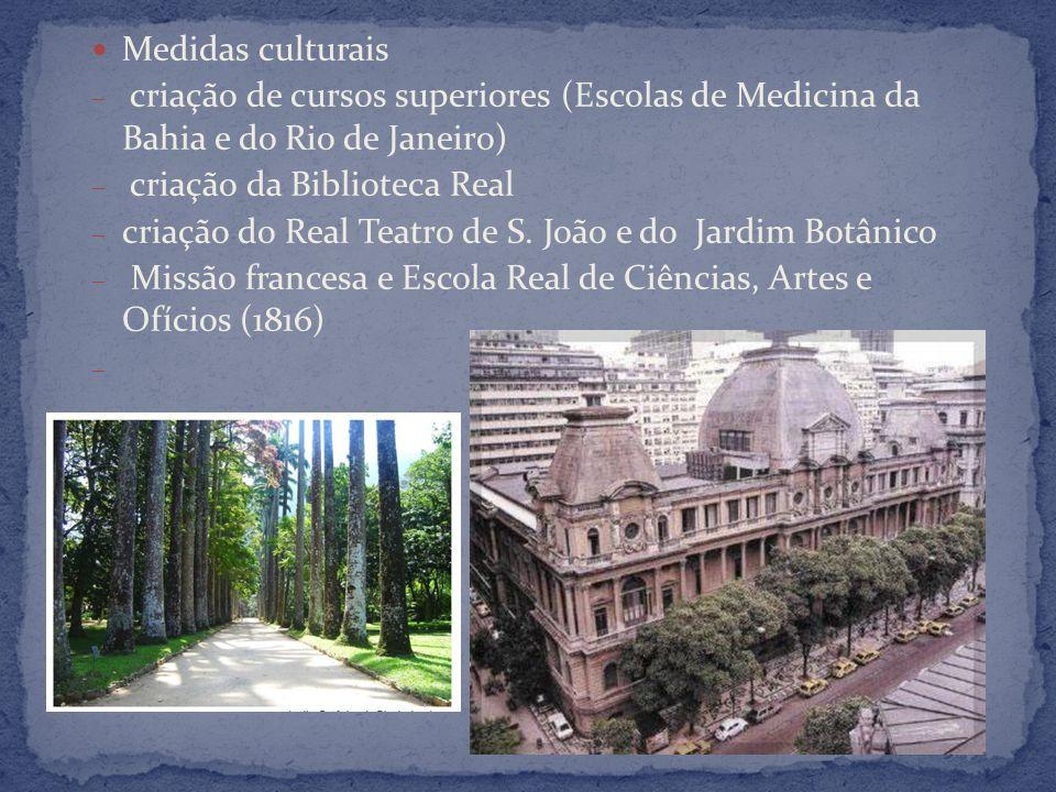 Medidas culturais criação de cursos superiores (Escolas de Medicina da Bahia e do Rio de Janeiro) criação da Biblioteca Real.