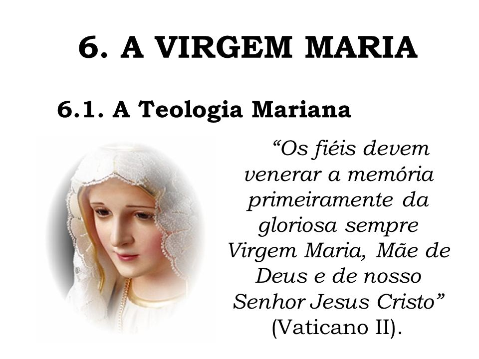 6. A VIRGEM MARIA 6.1. A Teologia Mariana