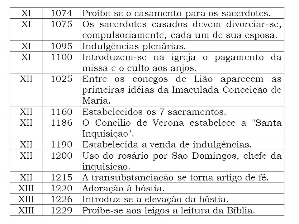 XI 1074. Proíbe-se o casamento para os sacerdotes. 1075. Os sacerdotes casados devem divorciar-se, compulsoriamente, cada um de sua esposa.