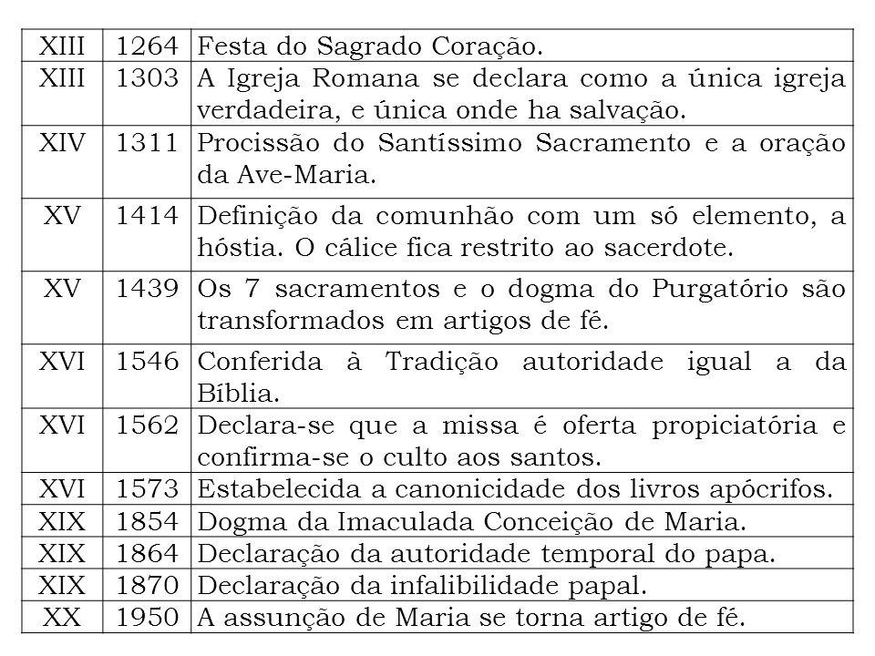 XIII 1264. Festa do Sagrado Coração. 1303. A Igreja Romana se declara como a única igreja verdadeira, e única onde ha salvação.