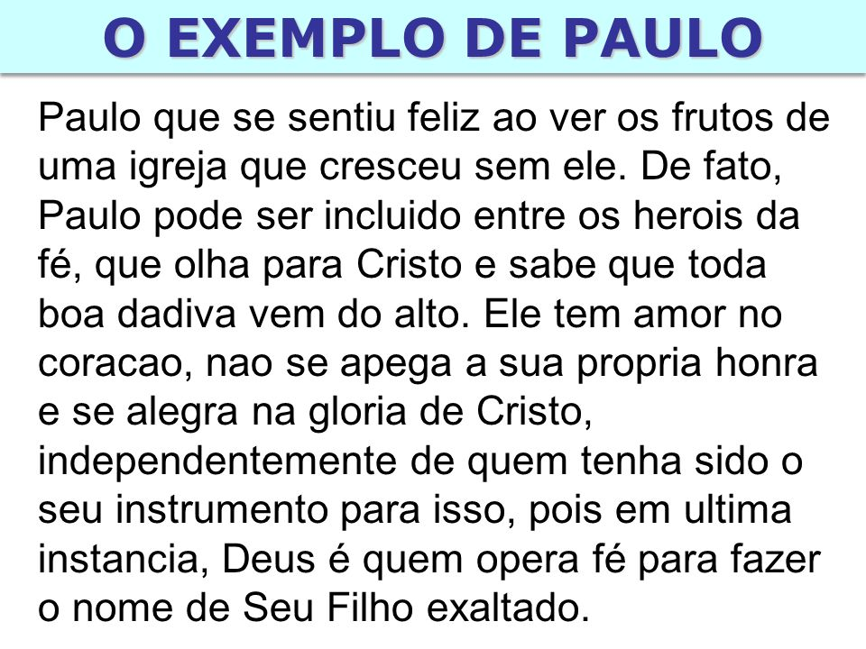 O EXEMPLO DE PAULO