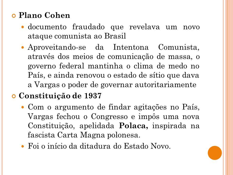 Plano Cohen documento fraudado que revelava um novo ataque comunista ao Brasil.