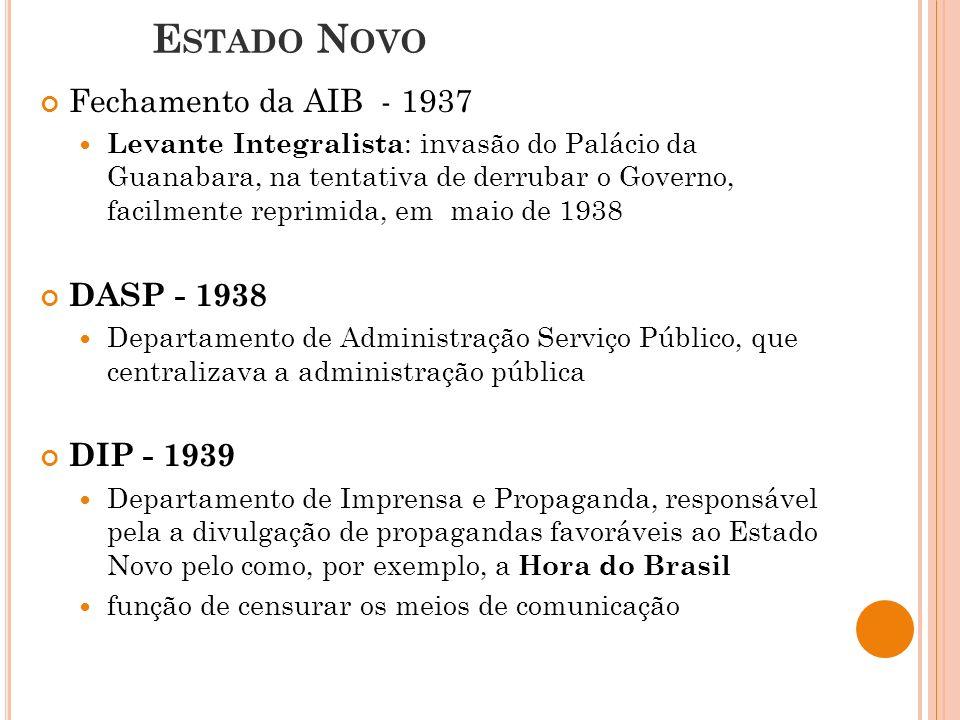 Estado Novo Fechamento da AIB - 1937 DASP - 1938 DIP - 1939