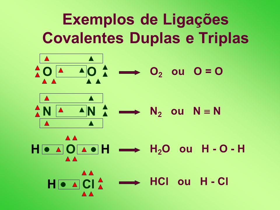 Exemplos de Ligações Covalentes Duplas e Triplas