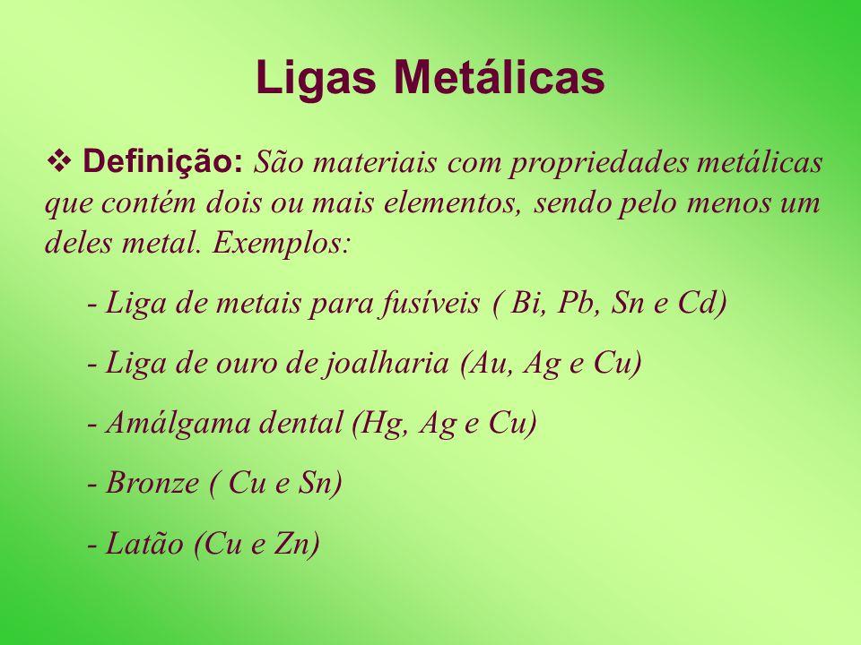 Ligas Metálicas Definição: São materiais com propriedades metálicas que contém dois ou mais elementos, sendo pelo menos um deles metal. Exemplos: