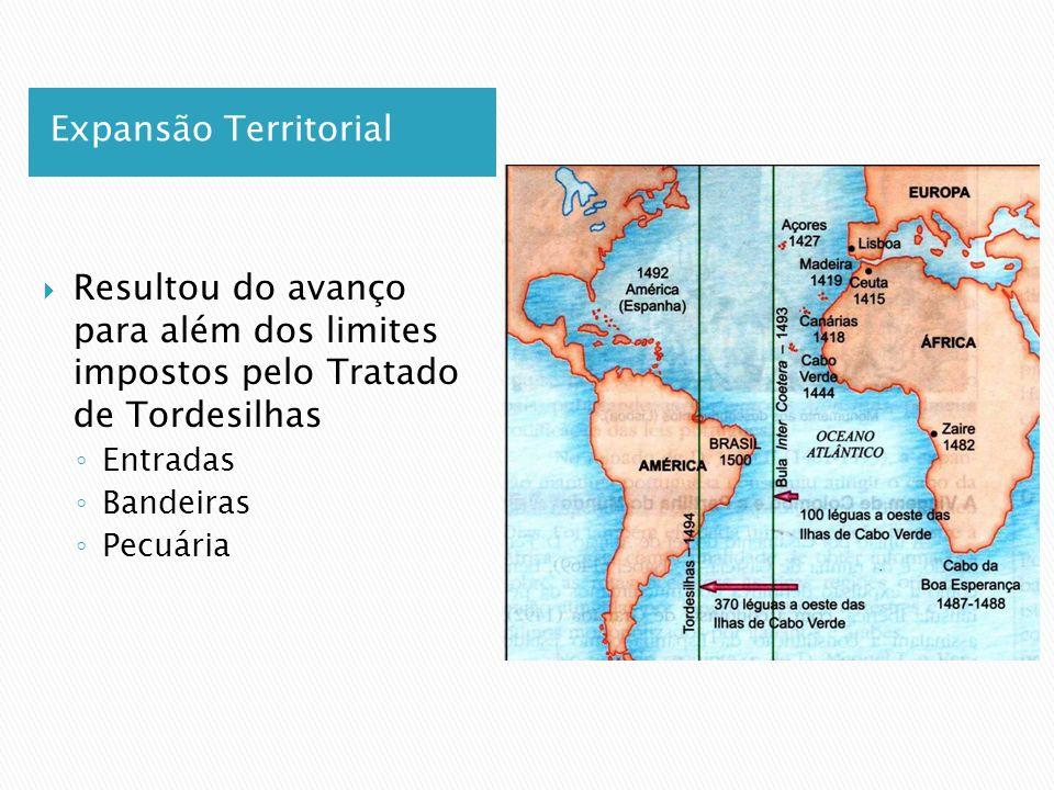 Expansão Territorial Resultou do avanço para além dos limites impostos pelo Tratado de Tordesilhas.