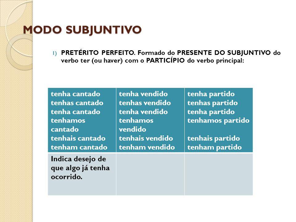 MODO SUBJUNTIVO PRETÉRITO PERFEITO. Formado do PRESENTE DO SUBJUNTIVO do verbo ter (ou haver) com o PARTICÍPIO do verbo principal: