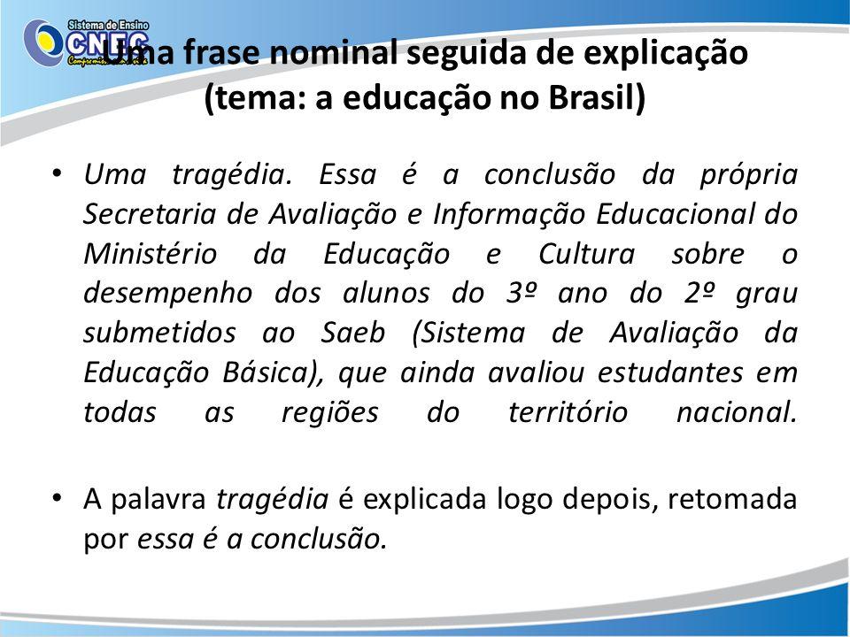 Uma frase nominal seguida de explicação (tema: a educação no Brasil)