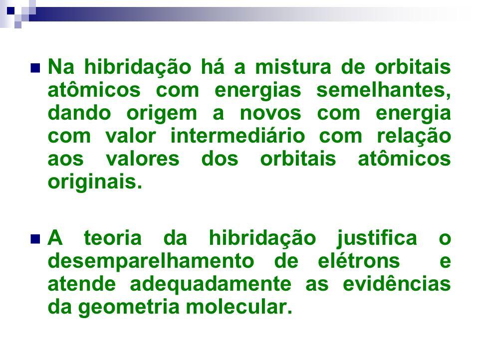 Na hibridação há a mistura de orbitais atômicos com energias semelhantes, dando origem a novos com energia com valor intermediário com relação aos valores dos orbitais atômicos originais.