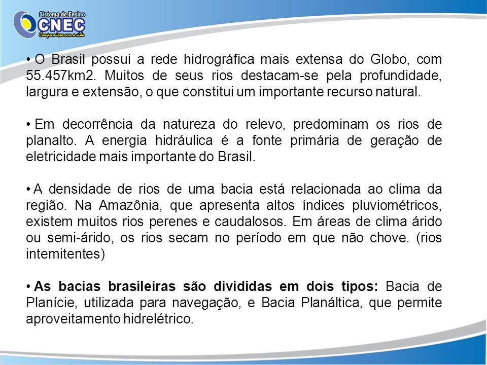 O Brasil possui a rede hidrográfica mais extensa do Globo, com 55