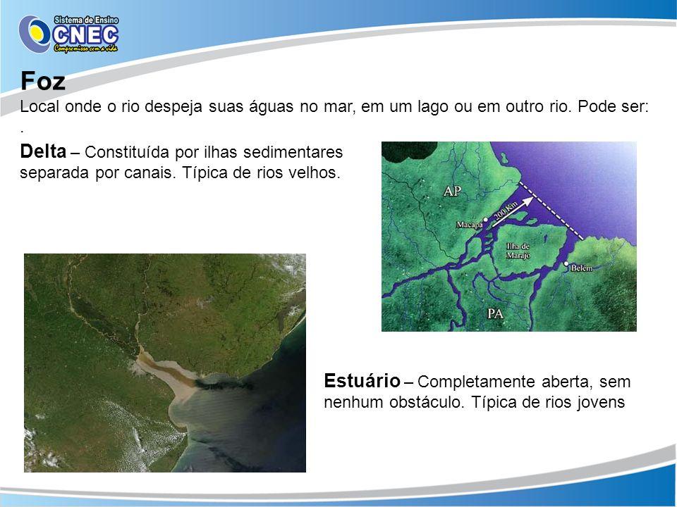 Foz Local onde o rio despeja suas águas no mar, em um lago ou em outro rio. Pode ser: .