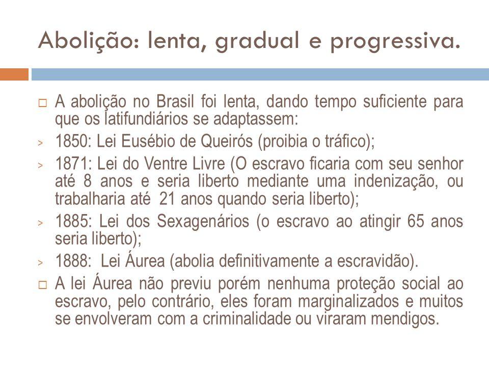 Abolição: lenta, gradual e progressiva.