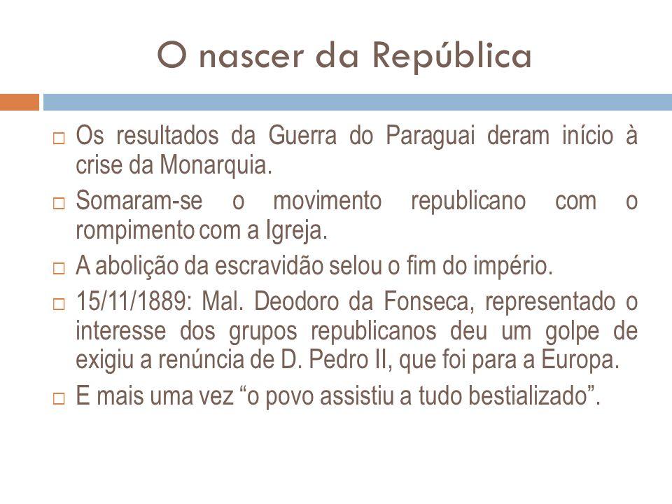 O nascer da República Os resultados da Guerra do Paraguai deram início à crise da Monarquia.