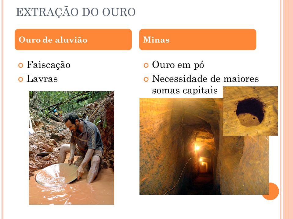 EXTRAÇÃO DO OURO Faiscação Lavras Ouro em pó