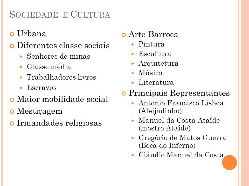 Sociedade e Cultura Urbana Arte Barroca Diferentes classe sociais