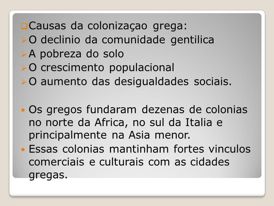 Causas da colonizaçao grega: