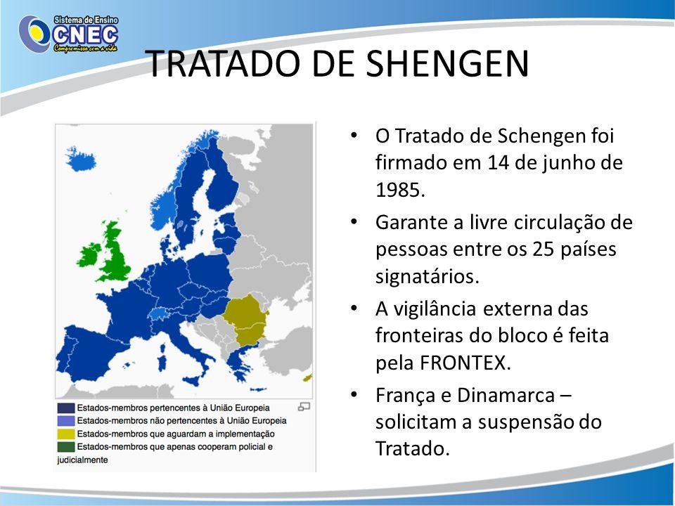 TRATADO DE SHENGEN O Tratado de Schengen foi firmado em 14 de junho de 1985. Garante a livre circulação de pessoas entre os 25 países signatários.