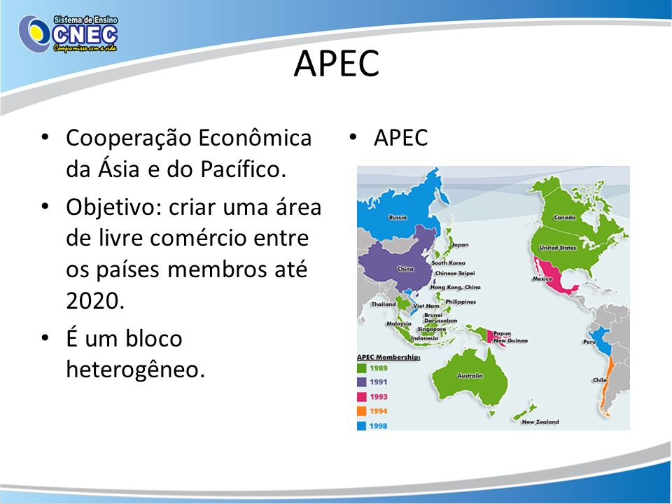 APEC Cooperação Econômica da Ásia e do Pacífico.