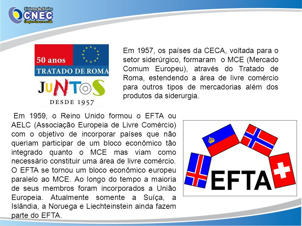 Em 1957, os países da CECA, voltada para o setor siderúrgico, formaram o MCE (Mercado Comum Europeu), através do Tratado de Roma, estendendo a área de livre comércio para outros tipos de mercadorias além dos produtos da siderurgia.