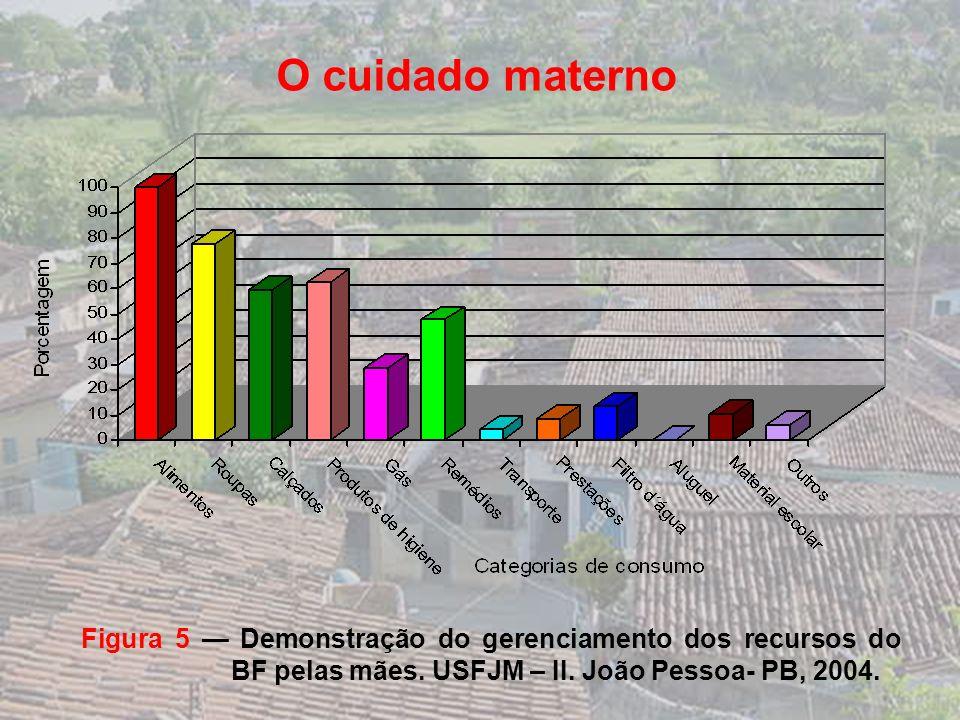 O cuidado materno Figura 5 — Demonstração do gerenciamento dos recursos do BF pelas mães.