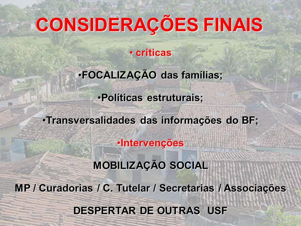 CONSIDERAÇÕES FINAIS FOCALIZAÇÃO das famílias; Políticas estruturais;